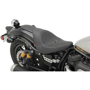 Drag Specialties Black Flame Stitch Low-Profile Solo Seat - 0810-1812