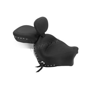 Mustang Seats Black Two-piece Studded Seat w/ Drivers Backrest - 79780