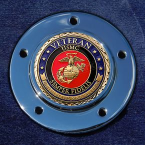 Motordog69 Max 1.8  Timing Cover Coin Mount With Veteran US Marine Corps 2-Sided Coin - JMPC-M-5-VMARINE