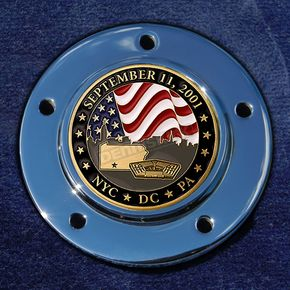 Motordog69 Max 1.8  Timing Cover Coin Mount With September 11th 2-Sided Coin - JMPC-M-5-SEPT11