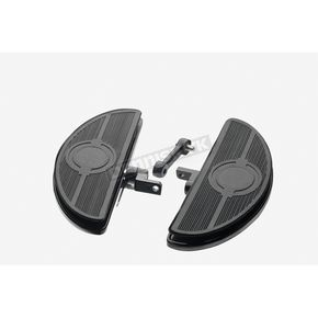 Custom Chrome Black Oval Shaker Style Adjustable Floorboards - 651806