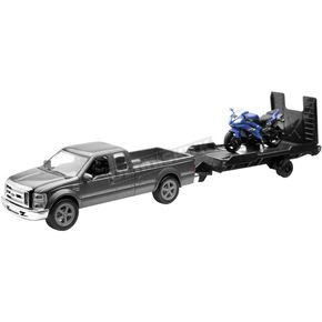 New Ray Toys Ford F250 w/Trailer and Yamaha R6 1:43 Scale Die Cast Model - 19775c