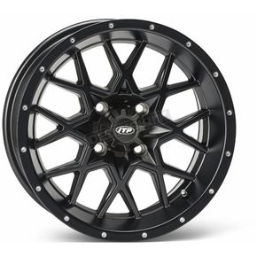 ITP Matte Black Front Or Rear 12 X 7 Hurricane Wheel - 1228634536B