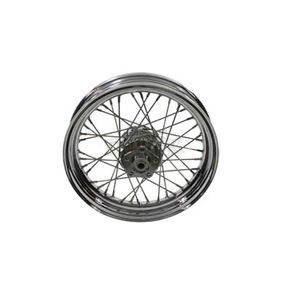 V-Twin Manufacturing Chrome 16 in. x 3 in. 40 Spoke Wheel Assembly for Single Disc - 52-0179