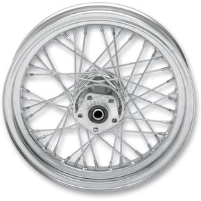 Chrome Rear 16 x 3.00 40-Spoke Laced Wheel Assembly - 0204-0371