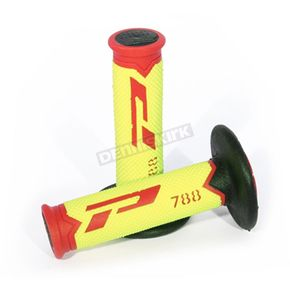 Fluorescent Yellow/Red 788 Extra  Slim Triple Density Grips - PA078800RGFN