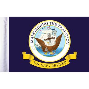 6 in. x 9 in. U.S. Navy Retired Motorcycle Flag - FLG-RTNAV