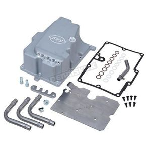 S&S Cycle Silver Oil Pan w/Supply Line Installation Kit - 310-0871