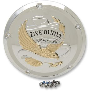Drag Specialties Gold Live to Ride Derby Cover  - 1107-0555