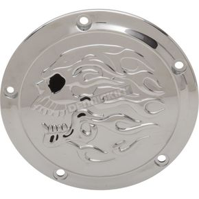 Chrome Flaming Skull Transmission Derby Cover - 1107-0633