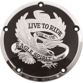 Black Live To Ride/Eagle Spirit Derby Cover - 78163