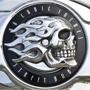 Polished Aluminum Flaming Skull Air Cleaner Insert - ISTC-1
