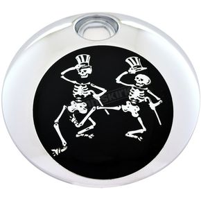 Chrome/Black Grateful Dead Dancing Skeletons Fuel Door Cover - GD03-13BC
