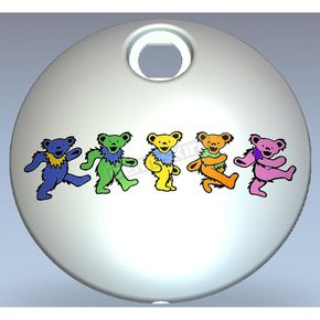 Chrome Grateful Dead Dancing Bears Fuel Door Cover in Full Color - GD04-13FC