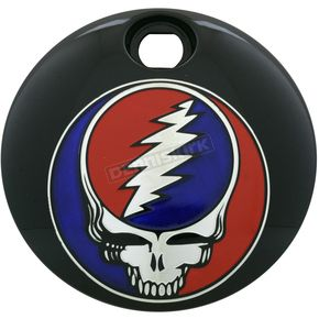 Black Grateful Dead Steal Your Face Fuel Door Cover in Full Color - GD01-13BG FC