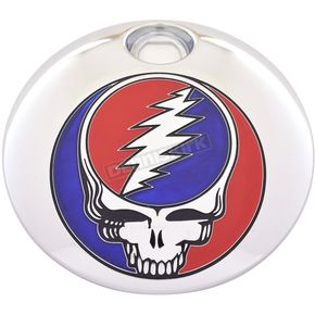 Chrome Grateful Dead Steal Your Face Fuel Door Cover in Full Color - GD01-13FC