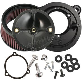 S&S Cycle Black Stealth Air Cleaner Kit without Cover For Use w/S&S 58mm Throttle Hog Throttle Body - 170-0164