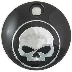 V-Twin Manufacturing Black/Chrome Skull Fuel Tank Console Door - 38-0600