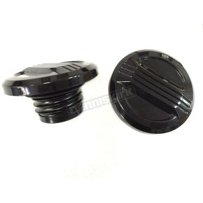 V-Twin Manufacturing Black Air Flow Gas Caps - 38-0494
