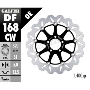 Front Aluminium Floating Wave Rotor w/Holes - DF168CW