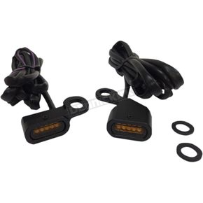 Black Anodized Handlebar Amber LED Marker Lights w/Amber Lens - 2040-2134