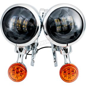 Chrome/Black LED Auxiliary Lights & Turn Signals - MV190