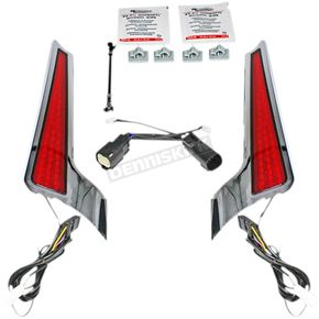 Chrome Fascia Led Light Panels w/Red Lens - CD-FASCIA-BCMCR