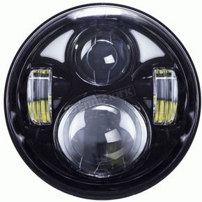 Black 5.6 in. 8-LED Round Headlight w/ Partial Halo - BC-561B