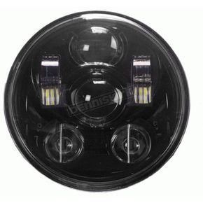 Black 5.6 in. 9-LED Round Headlight w/ Partial Halo - BC-562B