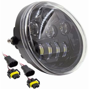Black 7 in. Oblong Oval Headlight - BC-HDHLR1