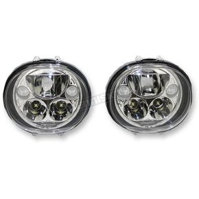 Custom Dynamics Chrome 5.75 on Oval Headlamp Kit - CDTB-575OV-C