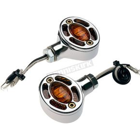 Joker Machine Chrome Omega LED Center Mount Turn Signals - 05-250-AC