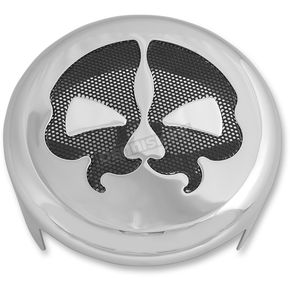 Chrome w/Black Skull Split Skull Horn Cover - 2107-0249