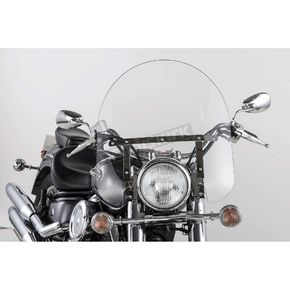 Slip Streamer 17 in. Clear SS-30 Classic Windshield w/Chrome Quick Release Hardware - SS-30-17CFQ