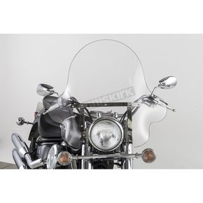 Slip Streamer 20 in. Clear SS-32 Falcon Windshield w/Chrome Quick Release Hardware - SS-32-20CWQ