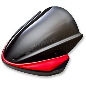 Zero Gravity Dark Smoke Intermediate Naked Bike Series Windscreen w/Red Fairing Vinyl Mask - 41-508-131