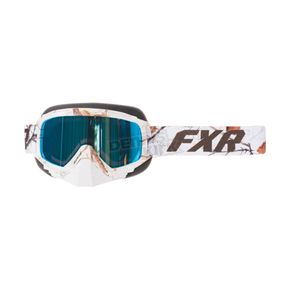 FXR Racing White Camo Mission Recon Speed Goggle w/Smoke with Cobalt Blue Finish - 173101-0200-00