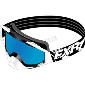 FXR Racing White Core Goggle w/Smoke Lens with Cobalt Blue Finish - 173102-0100-00