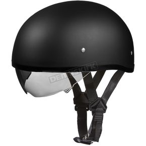 Dull Black Skull Cap Half Helmet w/ Inner Retractable Smoke Shield