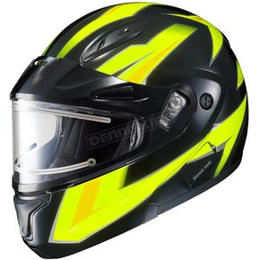 HJC Hi-Viz Neon Green/Black CL-Max 2 Ridge Helmet w/Electric Shield - 59-24539