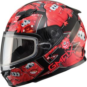 GMax Youth Black/Red GM49Y Attack Snowmobile Helmet - 72-5991YM