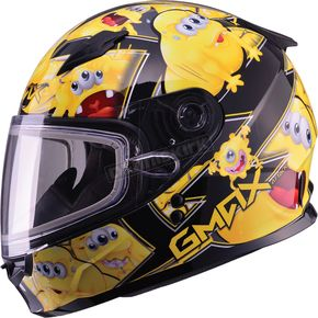 GMax Youth Black/Yellow GM49Y Attack Snowmobile Helmet - 72-5995YS