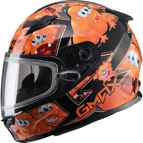 GMax Youth Black/Orange GM49Y Attack Snowmobile Helmet - 72-5998YL