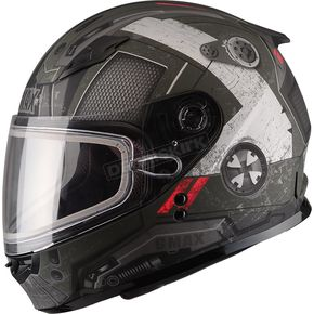 GMax Youth Flat Black/OD Green GM49Y Trooper Snowmobile Helmet  - 72-6014YM
