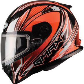 GMax Hi-Viz Orange/White/Black FF49 Sektor Snowmobile Helmet - 72-6307S