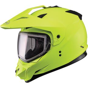 GMax Hi-Viz Yellow GM11S Snow Sport Snowmobile Helmet - 72-7124M