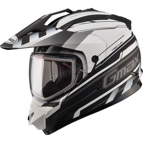 GMax Flat Black/White GM11S Trekka Snow Sport Snowmobile Helmet - 72-7136M