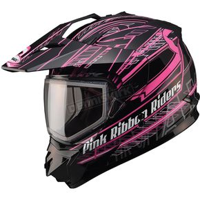 GMax Matte Black/White/Pink GM11S Pink Ribbon Snow Sport Snowmobile Helmet - 72-7139S