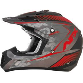 AFX Frost Gray/Red FX-17 Matte Factor Helmet - 0110-4464