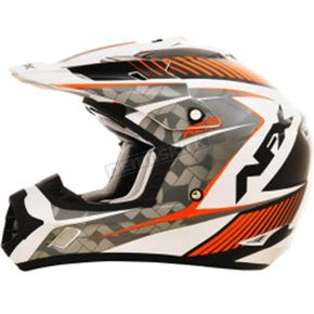 AFX Pearl White/Safety Orange FX-17 Factor Helmet - 0110-4522